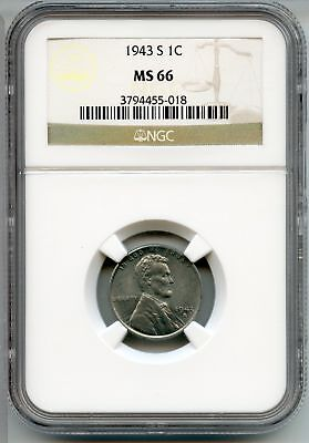 1943-S Lincoln Wheat Cent Penny NGC MS 66 Certified - San Francisco Mint AQ397