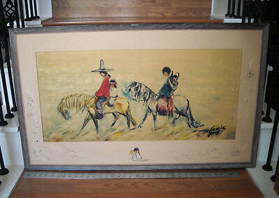 Framed TED DeGRAZIA Navajo Family Print w/ HAND SIGNED MAT with ORIGINAL ARTWORK