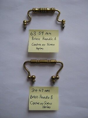 Replacement Brass HANDLES  Ideal for Carriage Clock / Display Case etc SET A & B