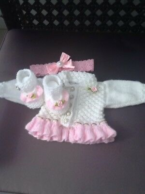 Hand Knitted Cardigan Shoes And Headband Newborn Or Reborn