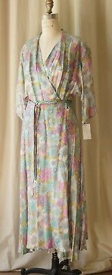 50s? Pastel floral silky wrap house dress vintage lounging apparel