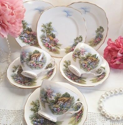 Vintage China Royal Vale Country Cottage 7382 Trios Tea Cups Saucers Plates Set