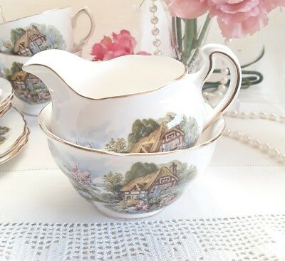 Vintage Royal Vale China Milk & Sugar Country Cottage 7382 Afternoon Tea Wedding
