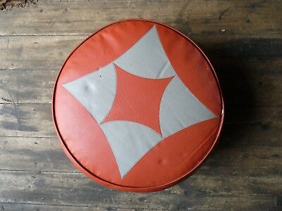 50's/60's red and cream vintage pouffe cushion/foot stool