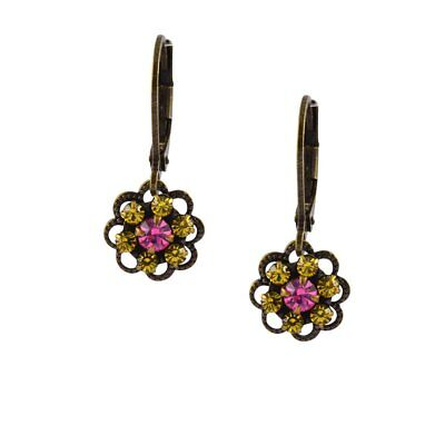 Caroline Heath Small Flower Earrings, Antique Brass Drop Yellow and Rose Crystal