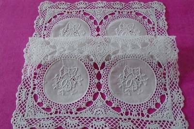 Exquisite Vintage Set 8 White Table Mats~ Hand Embroidered Roses ~ Crochet Lace