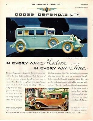 1931 Saturday Evening Post Magazine Ad Dodge Advertisment  A215