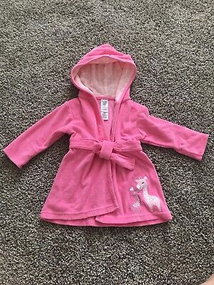 Carters' Baby Girl Pink Terry Cloth Bath Robe Size 0-9 Months Turtle Lining Swim