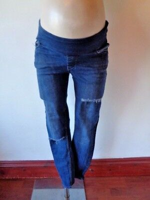 Asos Maternity Blue Under Bump Ripped Distressed Skinny Jeans Size 10