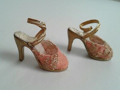 "Peach Gold Lace Sandals High Heels Shoes Cover Girl Esme Tyler Tonner 16"" Doll"