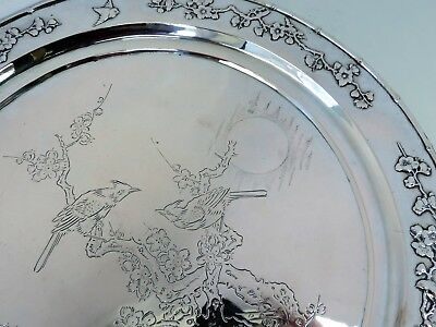 Large 33cm Chinese SILVER Salver TRAY, ZeeWo 1880 Aesthetic engraved birds 890g