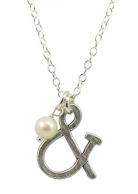 Vintage Pearl Ampersand Pewter Charm Silver Plated Ball Chain Fresh Water Pearl