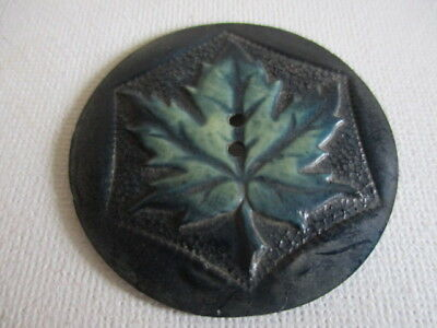 """Black Celluloid Button w/ Green Maple Leaf Accent 1 5/8"""""""