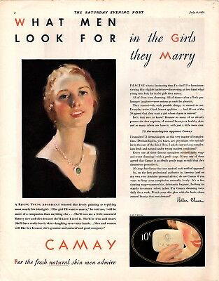 1931 Saturday Evening Post Magazine Camay Soap Advertisement  A218