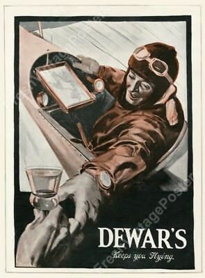 1914 pilot drinking Dewar's Scotch Whisky Keeps You Flying print ad poster 24x32