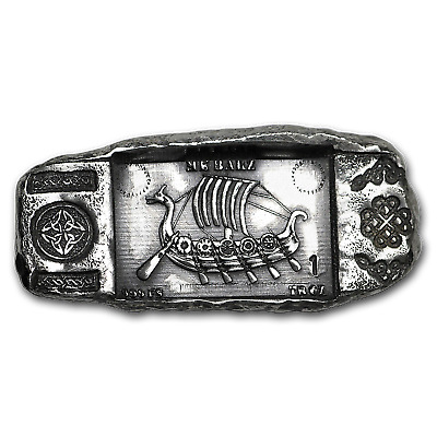 1 oz Hand-Poured Silver Bar - Viking Longship - SKU#168436