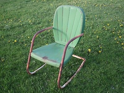 Vintage METAL ROCKING LAWN CHAIR patio outdoors outside porch furniture antique