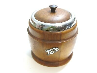 """Vintage Wood And Metal Possible English Tea Caddy With Lid 5"""" Tall"""