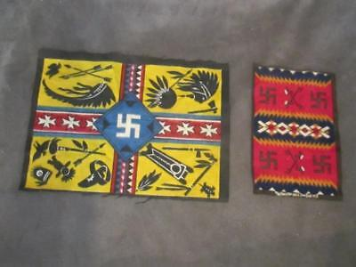 2 Vintage Tobacco Felts Flannel Indian Blanket Designs