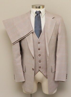 Vintage Mens 42R Botany 500 3 Piece Brown/White/Blue Plaid Suit