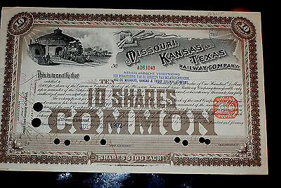 1902 Missouri, Kansas and Texas Railway Company Stock Certificate