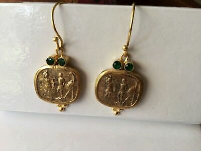 Vintage heavy solid Antique Victorian Etruscan Revival Earrings Gold Ear Rings