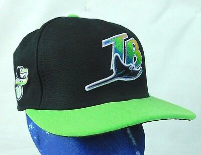 Tampa Bay Rays Fitted Size Cooperstown Collection 10 Years Patch Lime Green /& Black Hat Cap