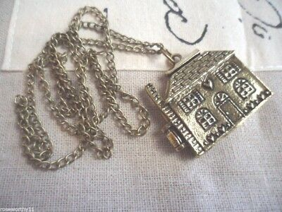 Large Vintage Gold Doll House Pendant Locket on Chain Necklace Fun Dress Ups