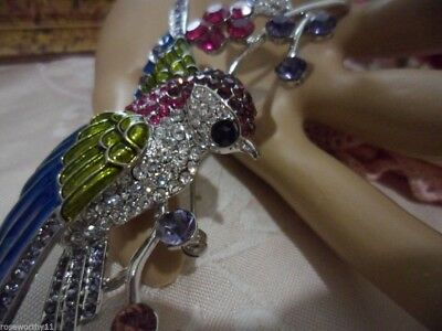 Vintage Large Runway Statement Silver Brooch Pin Bird on a Branch with Berries