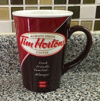 Tim Hortons Limited Edition Red Coffee Mug Cup #012 2012 Red Always Fresh Tims