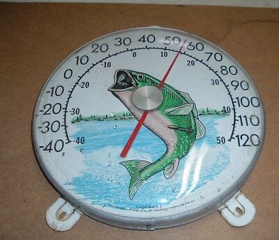 """vtg. the original jumbo bass dial therometer by ohio thermometer co. 12"""""""