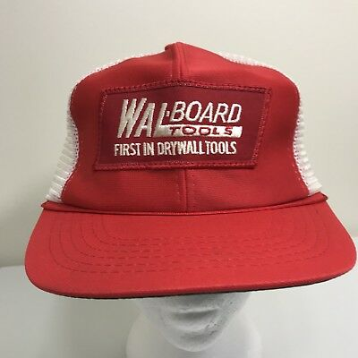 VTG 80s Wal Board Tools Drywall Red & White Patch Snapback Trucker Hat 90s Farm
