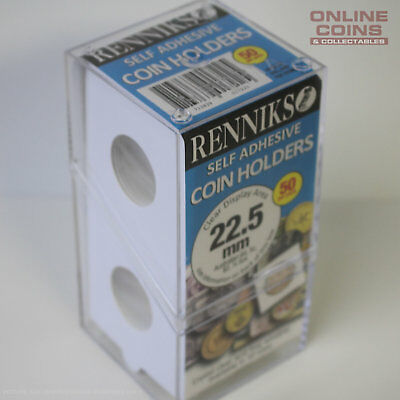 Renniks Self Adhesive Coin Holders - Box of 50 - 22.5mm - Suit Sovereign & $2.00