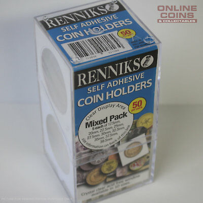 Renniks Self Adhesive Coin Holders - Box of 50 Mixed Sizes 17.5mm to 39.5mm