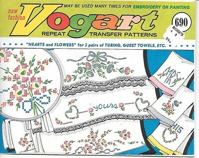 Vintage Vogart Transfer Pattern For Embroidery 690 Hearts And