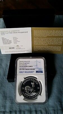 2018 1oz Silver PROOF Krugerrand PF69 FIRST RELEASES LOW COA# 00388 In Hand USA!