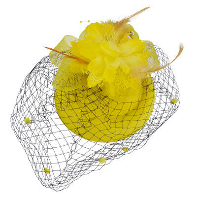 Vintage Flower Feather Netting Pillbox Hat Hair Accessory