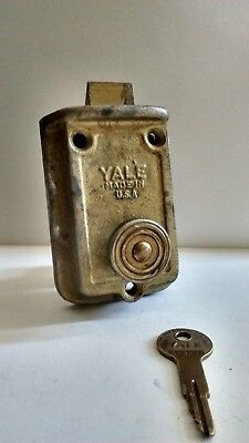 Antique Yale & Towne Surface Mount Door Night Latch Rim Lock #42 w/Control Key