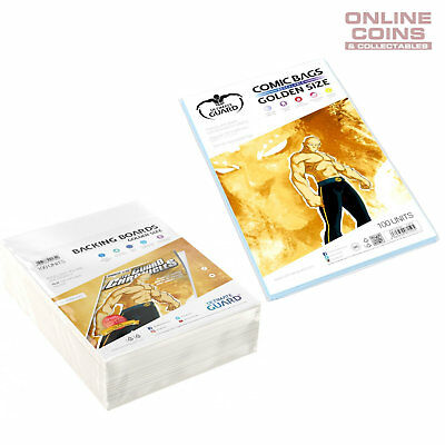 BUNDLE ULTIMATE GUARD RESEALABLE GOLDEN Size Comic Bags & Backing Boards x 100