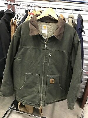 MENS 2XL - Carhartt C61 Sandstone Sherpa Quilted Ridge Coat Jacket Moss