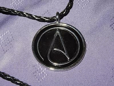 Necklace Black Silver Atheist Atom Symbol With 20in Leather Necklace