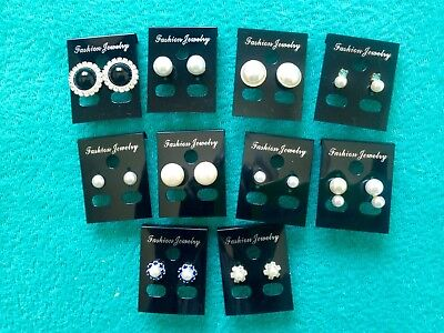 JOBLOT-10 pairs of pearl/diamante stud earring. Silver/gold plated.UK handmade.