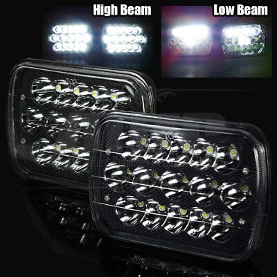 """7x6"""" H6054 45W Epistar LED Black/Crystal Sealed Beam Headlights Lamps Assembly"""