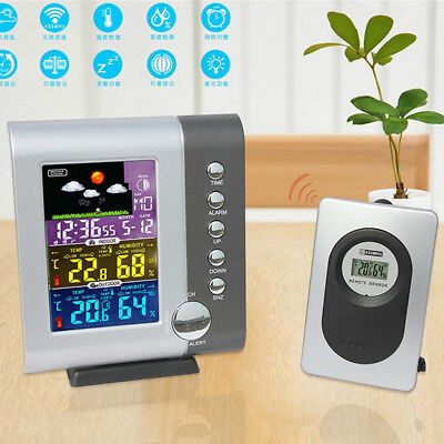 Digital Alarm Clock with Large LCD Screen Weather Station Indoor/Outdoor
