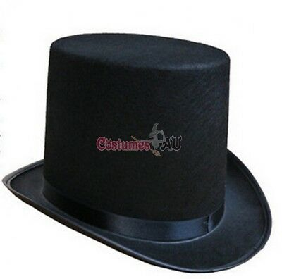 Mens Black Satin Top Hat Magician Wedding Tuxedo Lincoln Ring Master 20s Costume