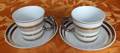 2 TASSES SOUS TASSES BERNARDAUD COLLECTION PREMIUM ESPRESSO Design Ghion OR 20 K