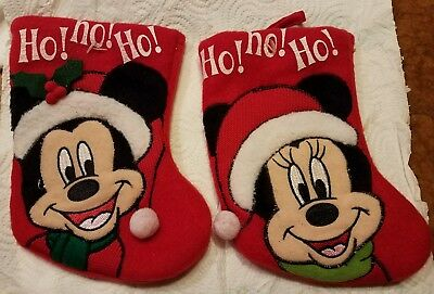 Disney Minnie and Mickey Mouse Christmas Stockings New 2011