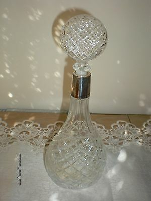 Cut Glass Claret Decanter With Silver Rim