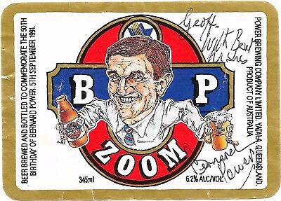 Bernard Power - Chairman Power Brewing - Rare Hand Signed Beer Label - Bp Zoom