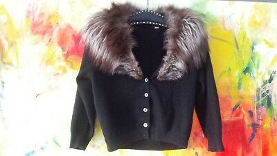 Women's Vintage 40s/50s XS-Med Fox Fur Collar Black Cropped Buttoned Cardigan